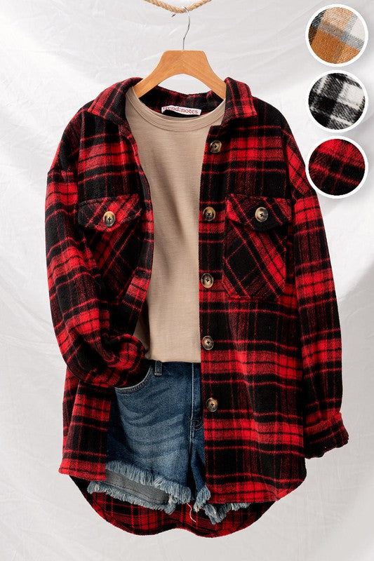 Checkered Oversize Button Down Jacket