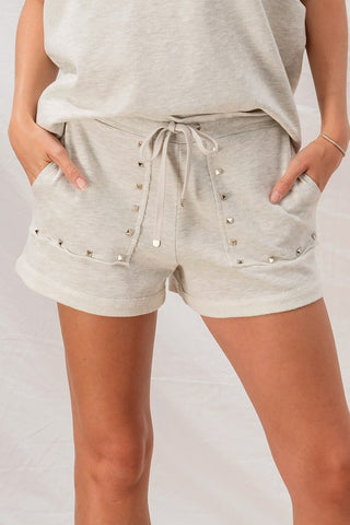 French Terry Studded Trim Lounge Shorts