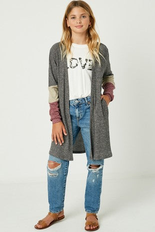 Colorblock Sleeve Ribbed Knit Long Cardigan