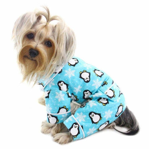 Penguins and Snowflake Flannel Pajamas - Turquoise