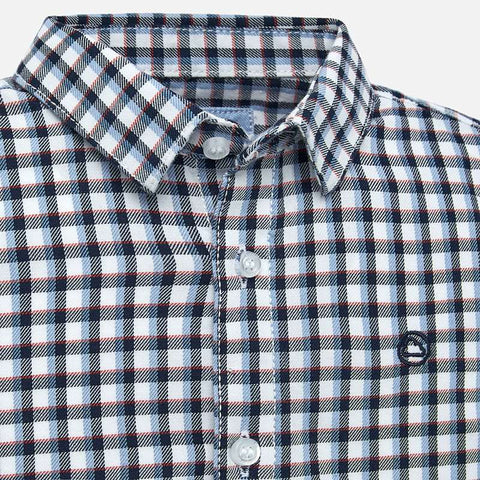 Long Sleeve Checked Shirt - Blue
