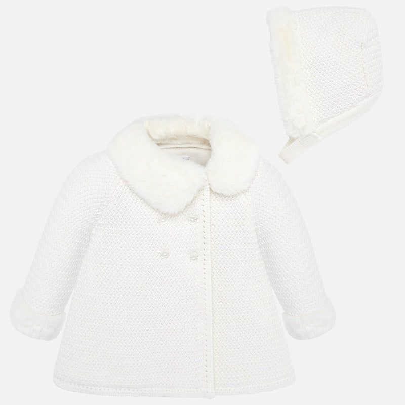 Hooded Knit Coat - Off White