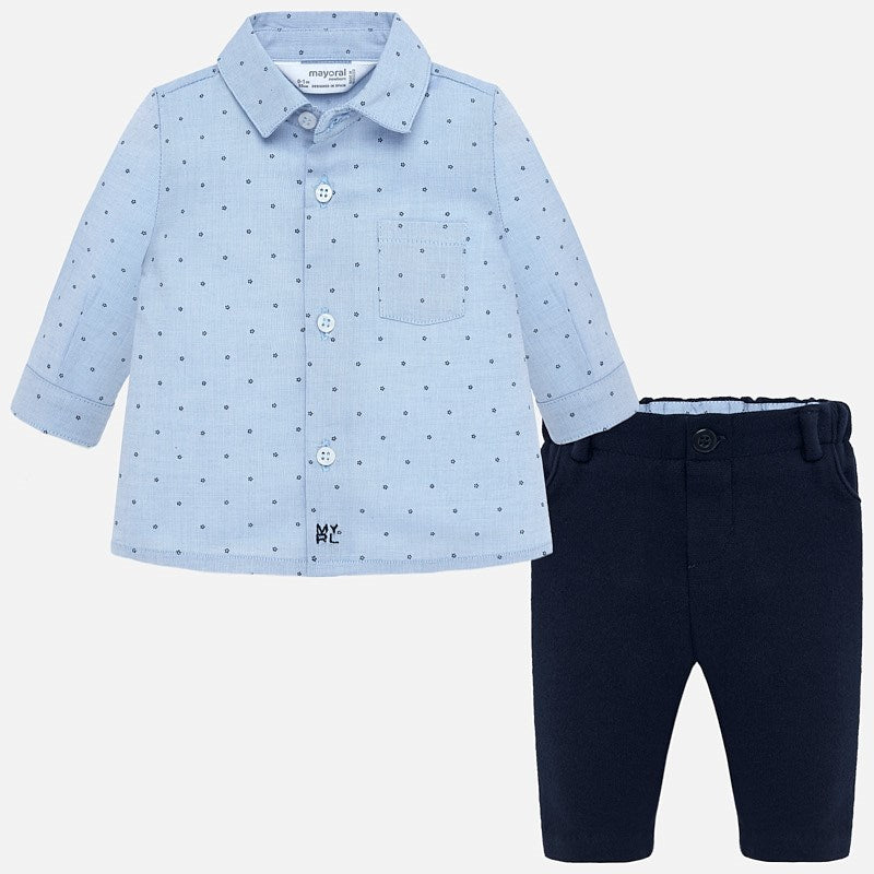 Elegant Shirt and Pant Set - Navy