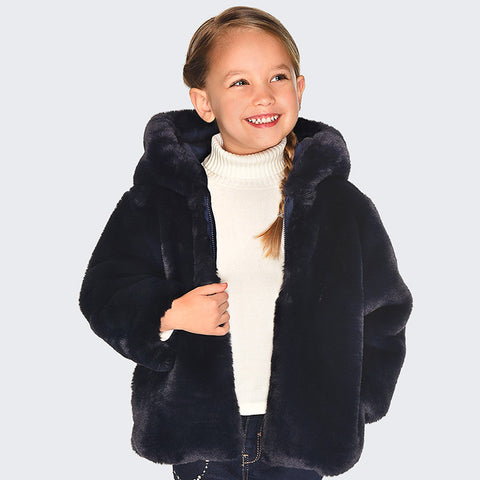 Reversible Fur Jacket - Navy