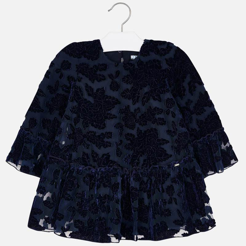 Tulle Velvet Flower Dress - Navy Blue