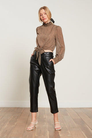 Londyn Belted Leather Trouser - Black