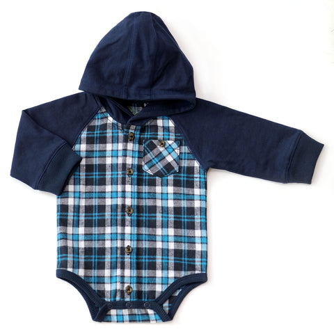 Plaid Hooded Flannel Bodysuit with Pocket