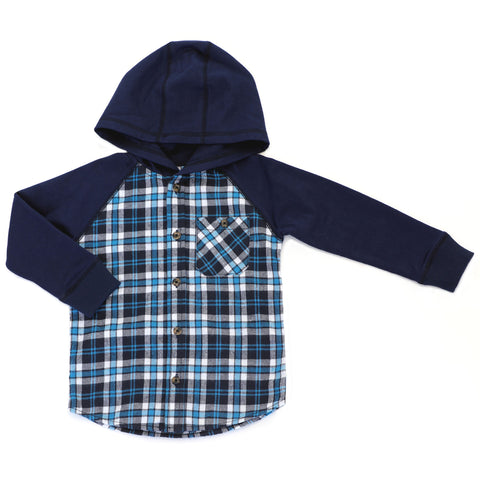 Plaid Hooded Flannel Shirt with Pocket - This Little Piggy