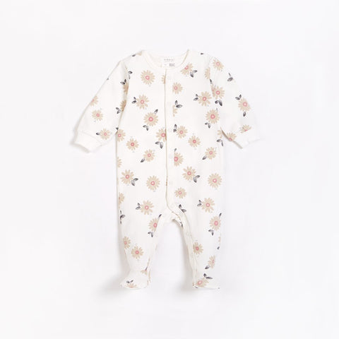 Marguerites Print on Off-White Footed Sleeper - This Little Piggy