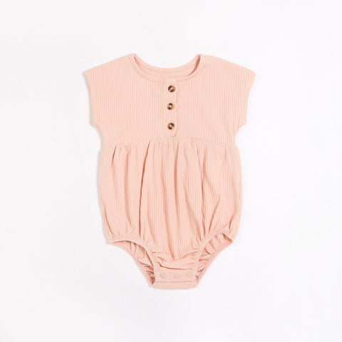 Rose Rib Bubble Romper - This Little Piggy
