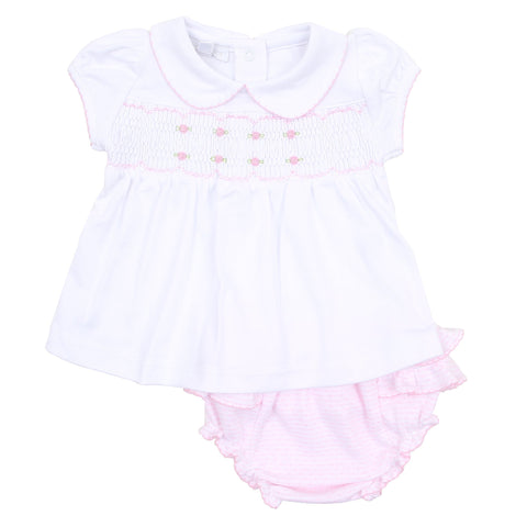 Jillian and Jacob's Classics Pink Smocked Collared Diaper Set