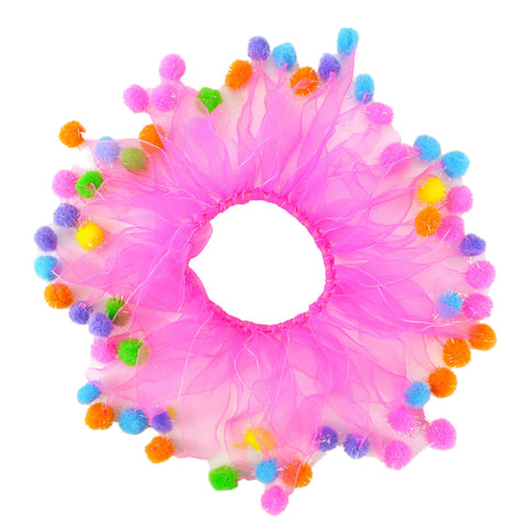Midlee Pink Birthday Pom Pom Dog Collar