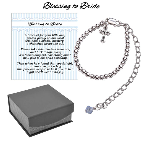 Boy's Blessing to Bride Sterling Silver Christening Bracelet - This Little Piggy