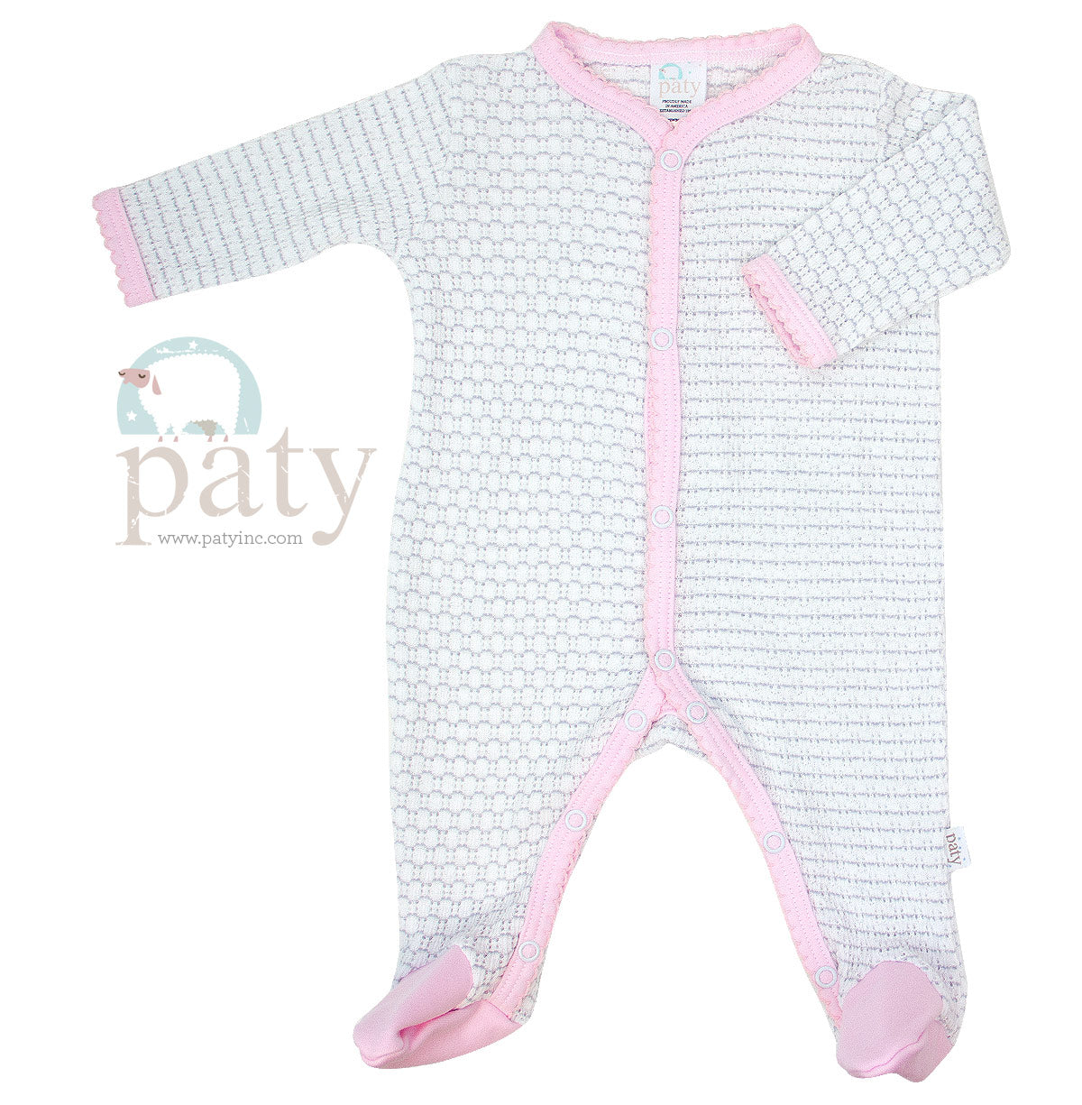 Pinstripe Footie Knit - Pink and Grey