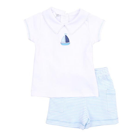 Baby Sailor Embroider Collared Short Set