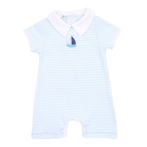 Baby Sailor Embroider Collared Short Playsuit