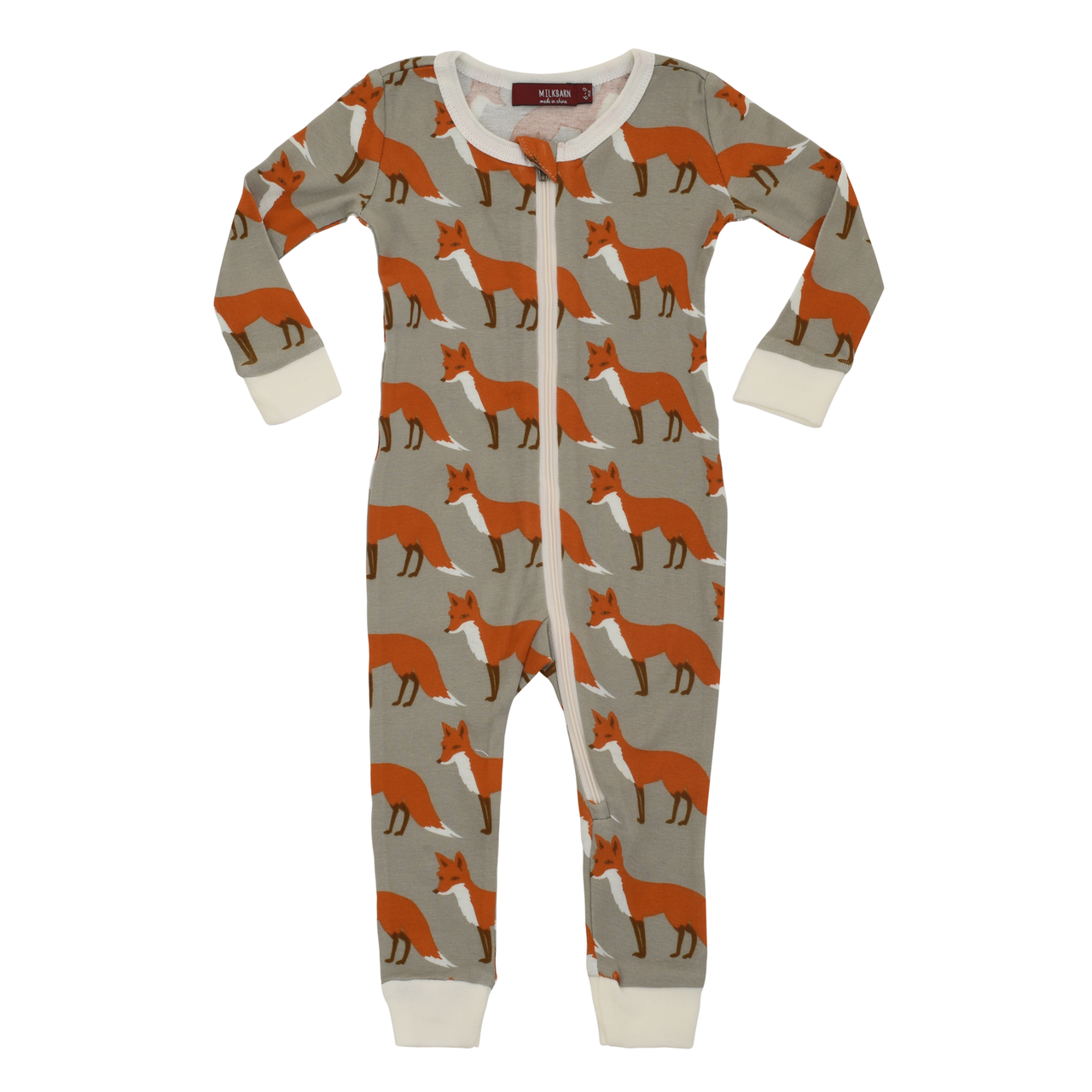 Organic Zip Pajama - Orange Fox