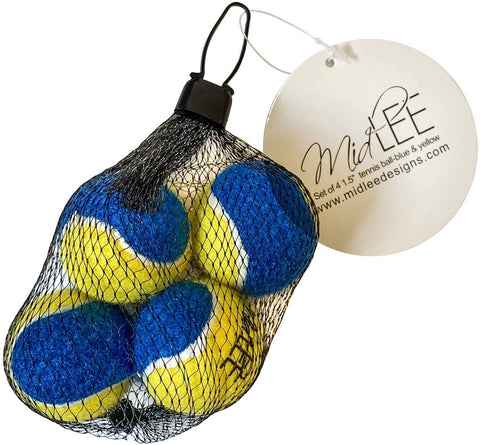 Midlee Mini Dog Tennis Balls - Blue/Yellow- Pack of 4