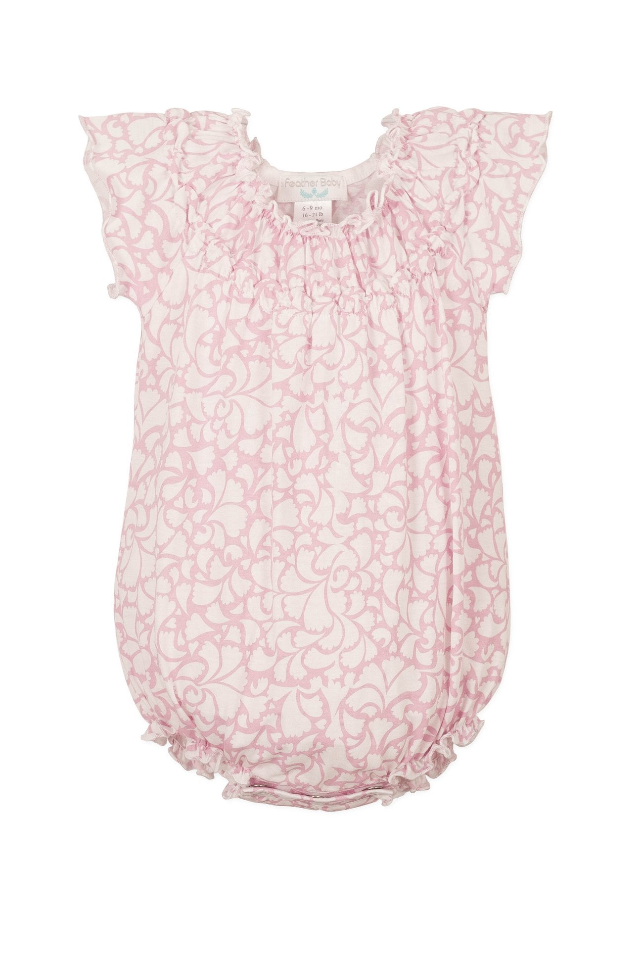 Ruched Bubble Big Floral - Pink on White