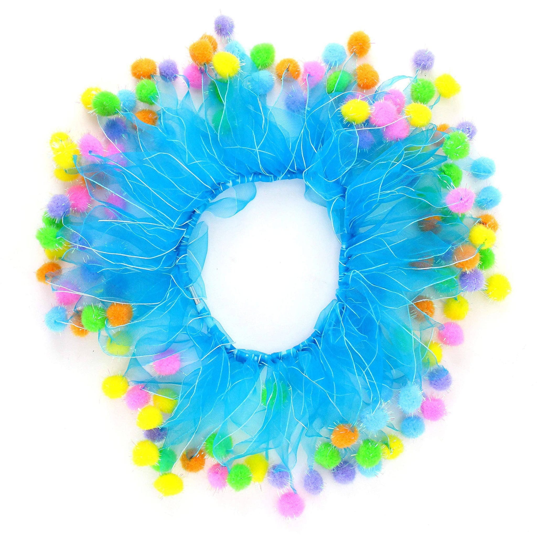 Midlee Blue Birthday Pom Pom Dog Collar