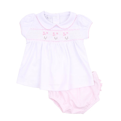 Classic Bunnies Smocked Collared Diaper Set