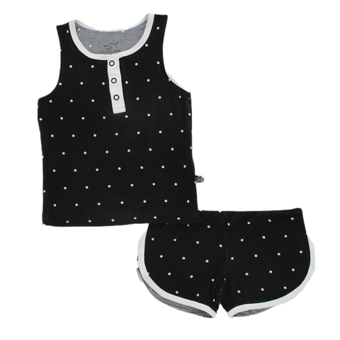Black Polkadot Bamboo Tank and Shorts Set - This Little Piggy