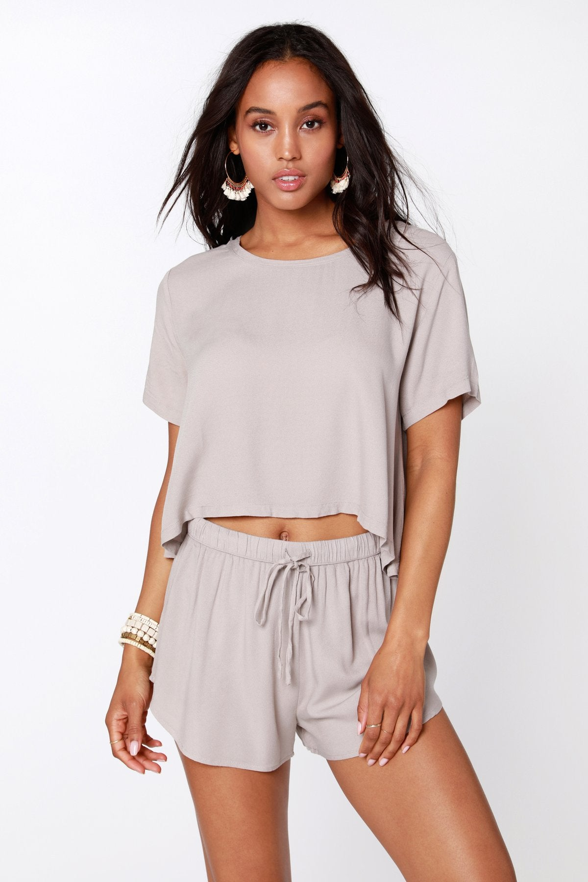 Smocked Waist Shorts - Tan
