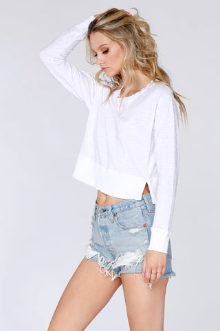 Rib Mixed Cropped Tee - white