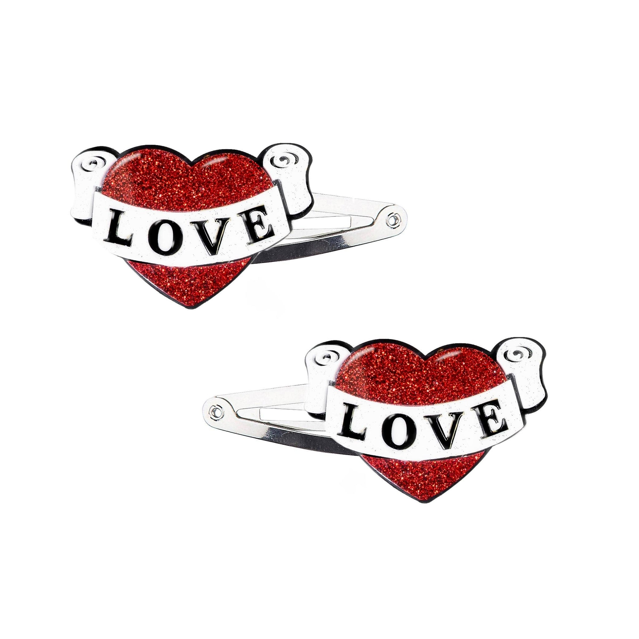 SALE - Vintage Heart Snap Clips
