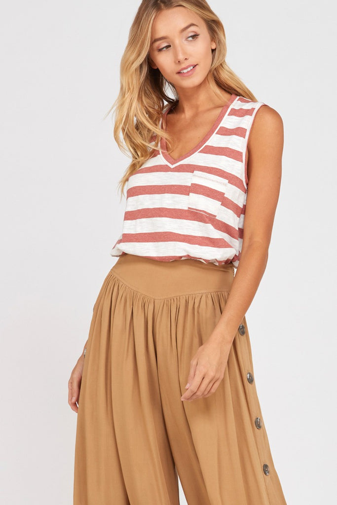 Striped V Neck Pocket Tank Top