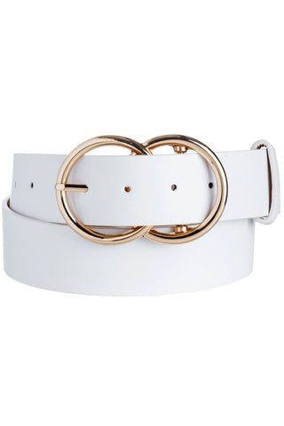 Solid Double O Belt - White - This Little Piggy