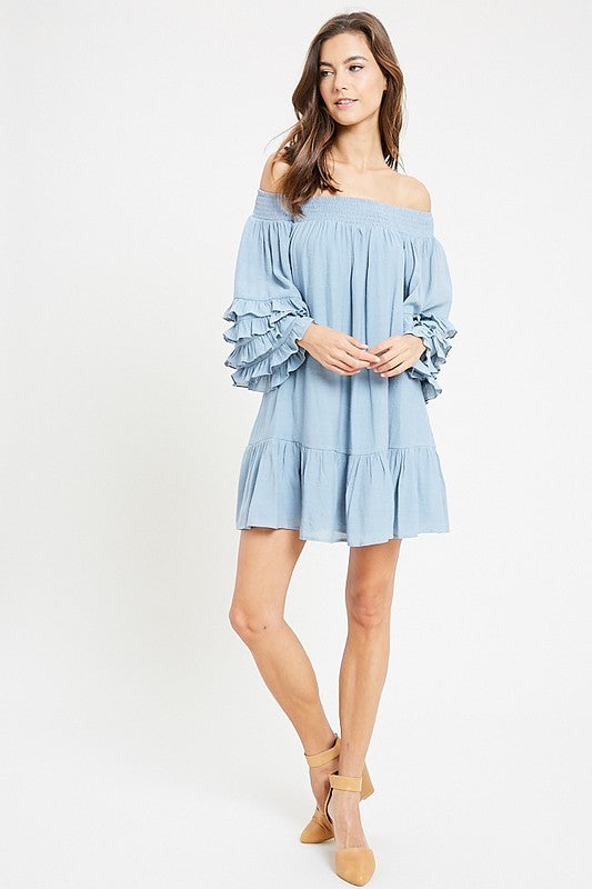 Ruffled Sleeve Off Shoulder Dress