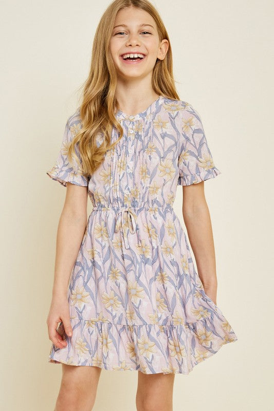 Kids Floral Button-Down Ruffle Mini Dress