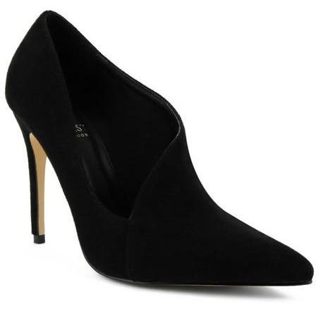 The Vera- Black Micro Suede Asymmetrical Pump