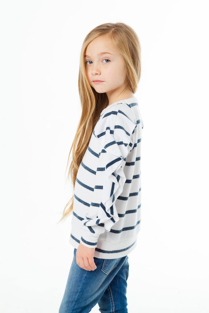 Chaser Kids - GIRLS LOVE KNIT L/S RUFFLE RAGLAN SWEATER - This Little Piggy