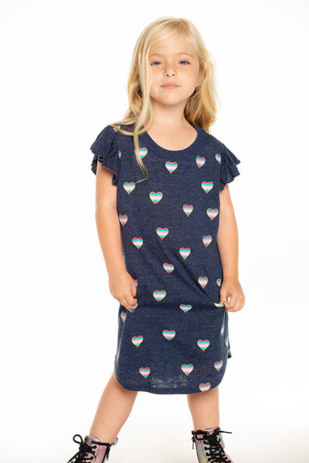Beach Hearts Flutter Sleeve Shirttail Dress