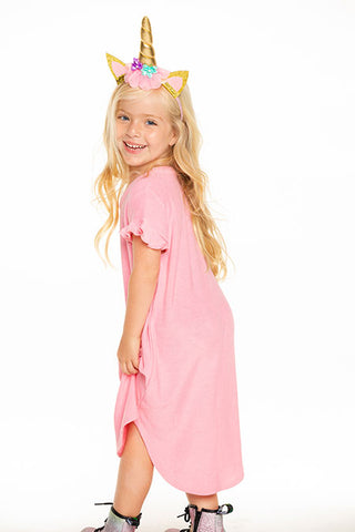 Knit Ruffle Sleeve Shirttail Mini Dress - This Little Piggy