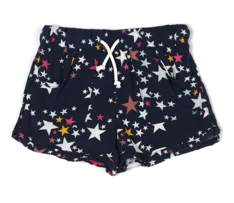 Star Printed Liquid Poplin Pull-On Shorts