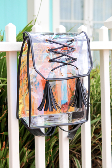 Black Iridescent Square Backpack