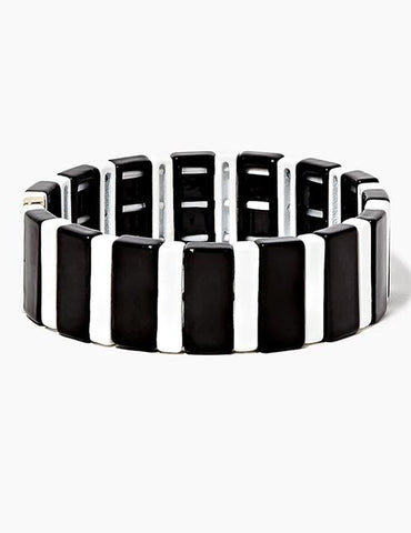 Black & White Striped Enamel Tile Stretch Bracelet