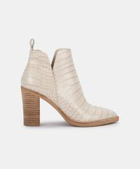 Dolce Vita Shannon Bootie in Eggshell Croco Print Leather
