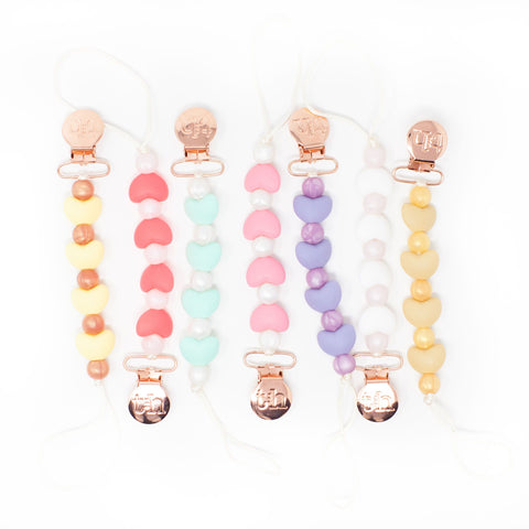 Hearts Hearts Pacifier & Toy Clip