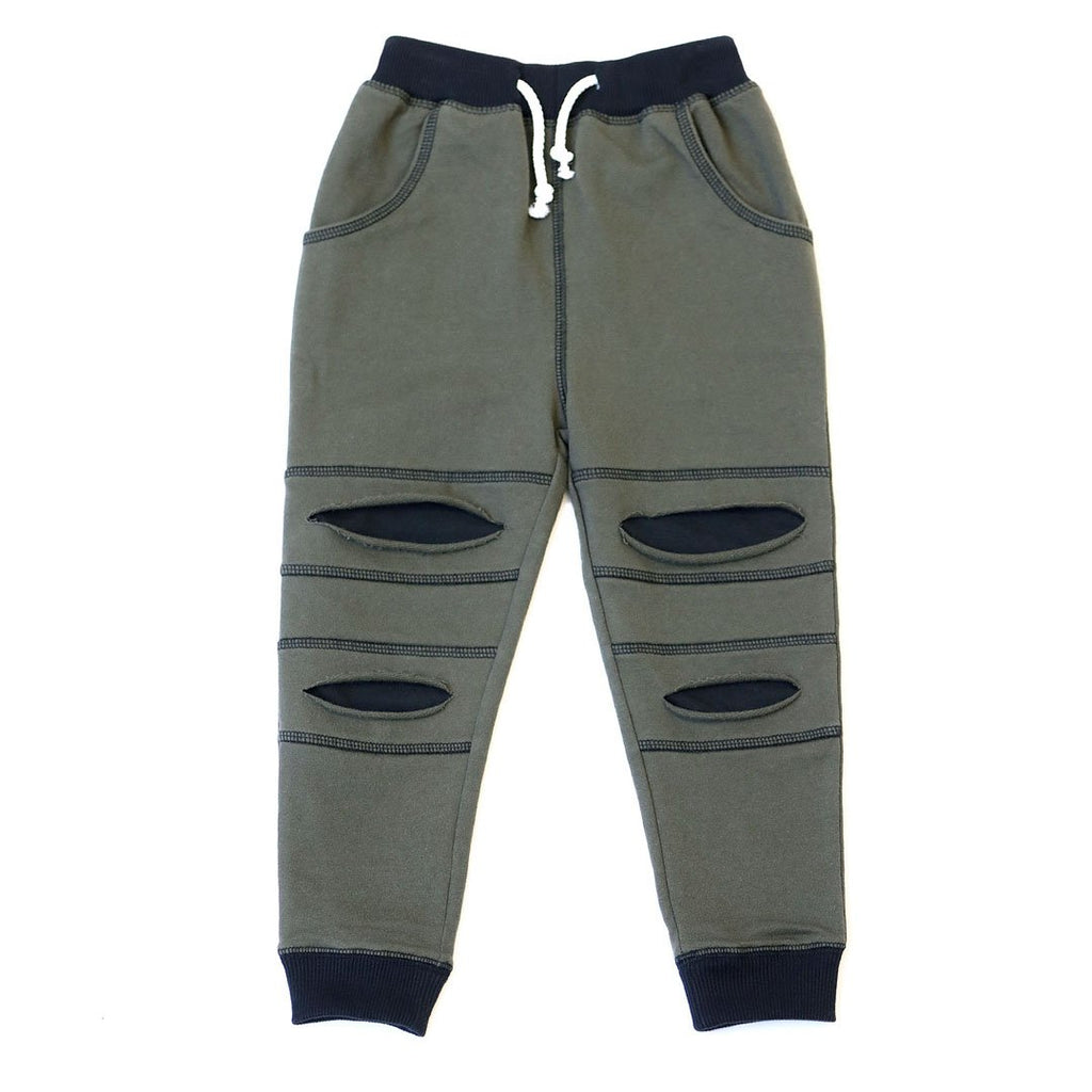 KAPITAL K - DARK MOSS BABY FRENCH TERRY JOGGER WITH RIPPED INSERTS - This Little Piggy