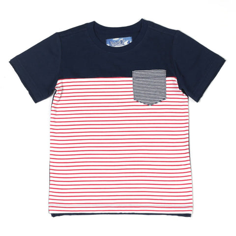 Colorblocked Stripe Pocket Tee