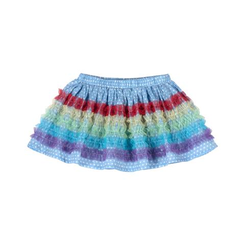 Gathered Skirt with Frills - Multi