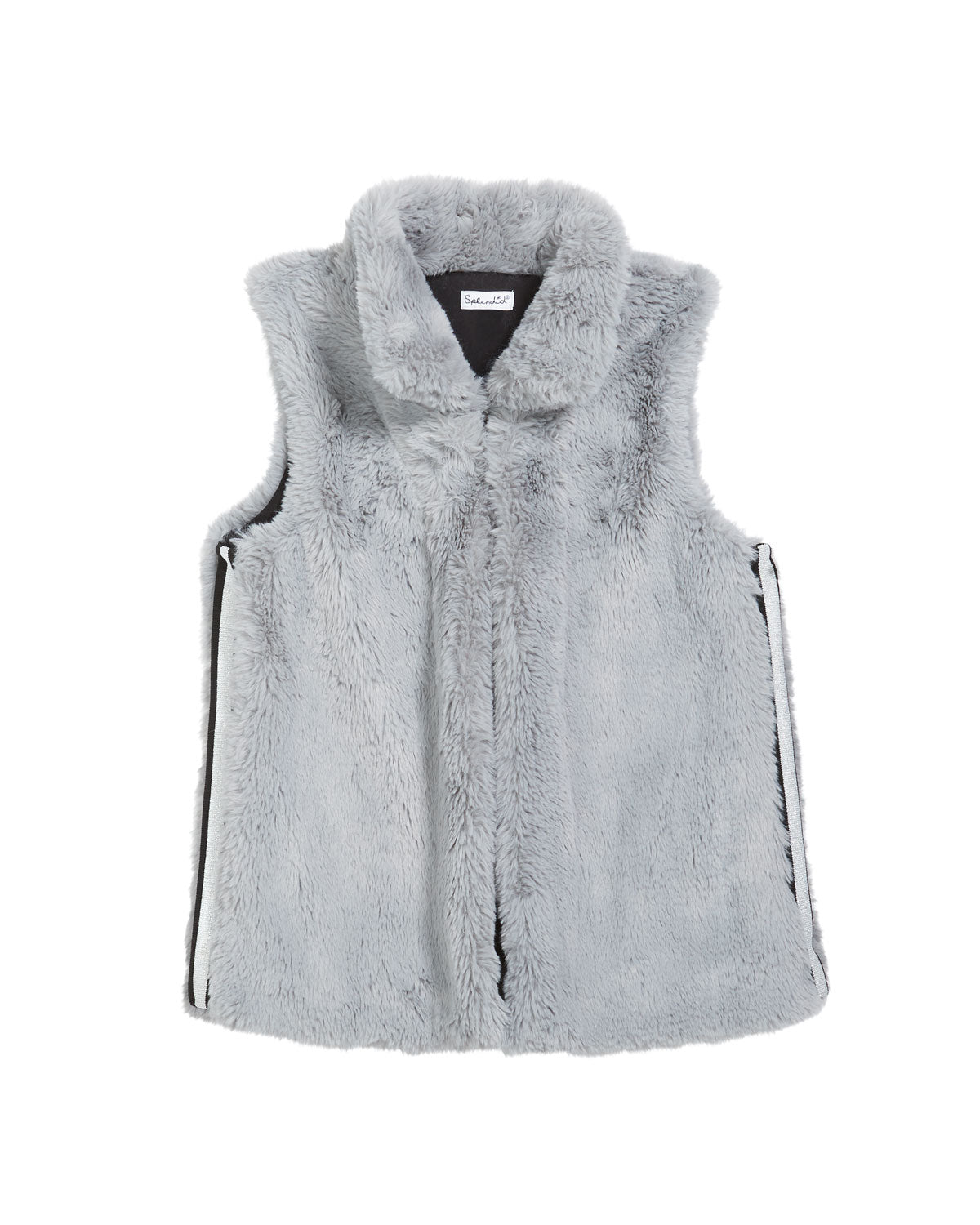 Girl's Lurex Tape Trim Faux Fur Vest