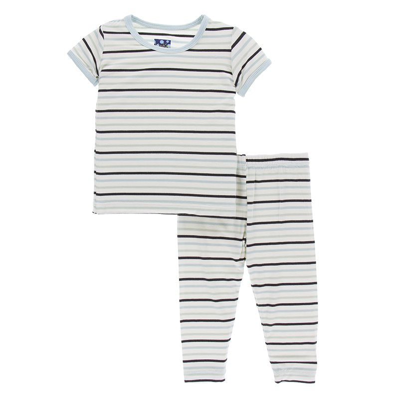 Print Short Sleeve Pajama Set - Tuscan Afternoon Stripe