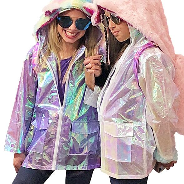 Unicorn Iridescent Hooded Rain Coats