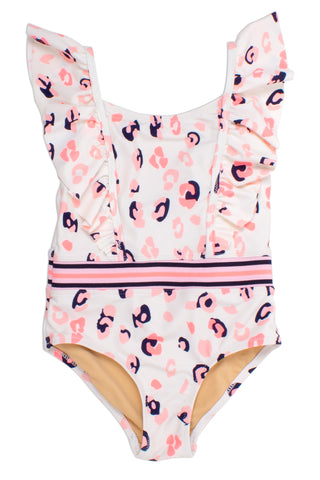 One Piece Ruffle Shoulder - Neon Leopard - This Little Piggy
