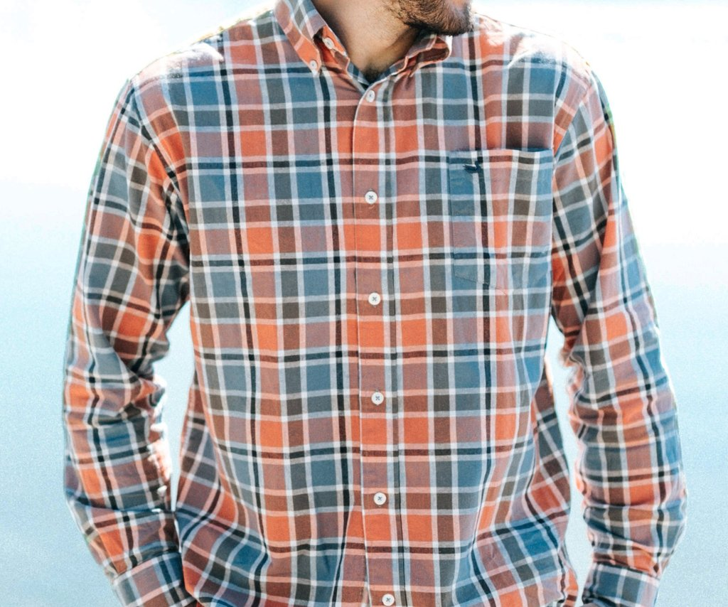 Ocoee Washed Plaid Dress Shirt Slate